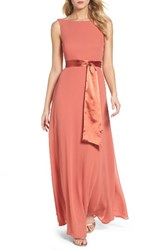 Lulus Women's Belted V Back Chiffon Gown Rusty Rose