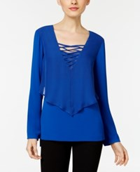 Ny Collection Lace Up Layered Look Blouse French Blue