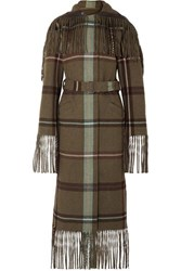 Salvatore Ferragamo Belted Fringed Checked Flannel Coat Army Green