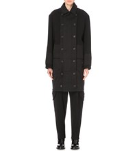 Chalayan Quilted Panel Wool And Cotton Coat Black