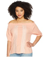 Cruel Rayon Off The Shoulder Top Coral Clothing