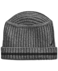 Nautica Hat Striped Flat Top Ribbed Beanie Granite Heather Black