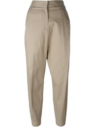 Alberto Biani Pleated Tapered Cropped Trousers Nude And Neutrals