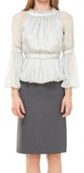 Leon Max Silk Mesh Pleated Chiffon Blouse With Sequins