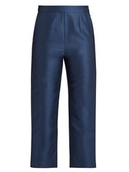 Isa Arfen Cotton And Silk Blend Twill Cropped Trousers Navy