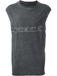 Isaac Sellam Experience Stitch Print Relaxed Fit Tank Top Grey