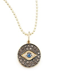Sydney Evan Small Diamond Evil Eye Medallion Necklace Yellow Gold