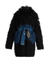 Fendi Fur Collar Loop Knit Cardigan Black Navy