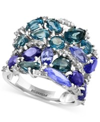 Effy Blue Topaz 3 1 10 Ct. T.W. Iolite 2 1 2 Ct. T.W. And Tanzanite 2 1 10 Ct. T.W. Ring In 14K White Gold