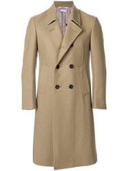 Thom Browne Melton Wool Pintuck Bal Collar Overcoat Nude And Neutrals