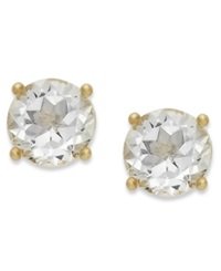 Victoria Townsend 18K Gold Over Sterling Sterling Earrings April's Birthstone White Topaz Stud Earrings 2 Ct. T.W. None