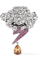 Marc Jacobs Silver Tone Crystal Brooch One Size