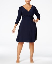 Ny Collection Plus Size Ruched A Line Dress Navy