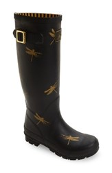 Joules Women's 'Welly' Print Rain Boot Black Dragonfly