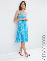 Asos Petite Pleated Midi Dress In Blue Summer Floral Print Blue