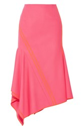 Jason Wu Asymmetric Silk Trimmed Stretch Wool Midi Skirt Bright Pink