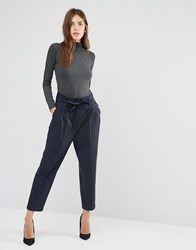 Sisley Trousers In Pinstripe With Gathered Waist Navy