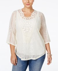 Eyeshadow Plus Size Sheer Mixed Lace Blouse Pristine