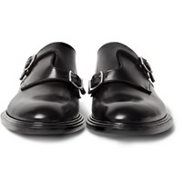 Givenchy Polished Leather Monk Strap Shoes Black
