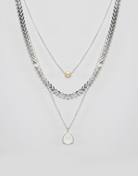 Ny Lon Nylon Multi Layered Necklace Silver