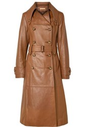 Michael Kors Collection Belted Leather Trench Coat Brown