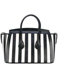 Bally Striped Tote Women Calf Leather One Size Black