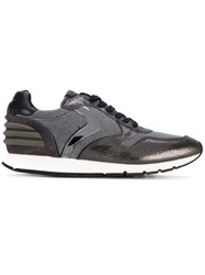 Voile Blanche Woven Panelled Sneakers Men Leather Nylon Rubber 44 Grey