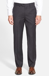 John W. Nordstrom Creased Wool Chinos Grey Dark Charcoal Heather