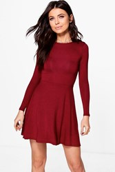 Boohoo Harriet Basic Long Sleeve Skater Dress Merlot