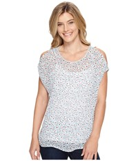 Vince Camuto Floral Sketches Mixed Media Cold Shoulder Tee Grey Heather Women's T Shirt Gray