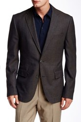 Hugo Boss Noris Trim Fit Houndstooth Wool Sport Coat Brown