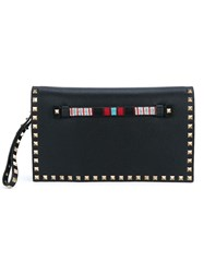 Valentino Garavani Leather Rockstud Clutch With Beading Black