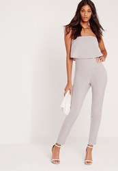 Missguided Bandeau Double Layer Jumpsuit Grey Grey