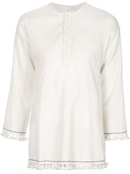 Dosa Tasselled Kaftan Top White