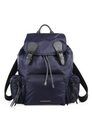 Burberry Calf Leather Trimmed Large Rucksack Ink Blue