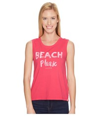 Life Is Good Beach Please Muscle Tee Pop Pink Women's Sleeveless