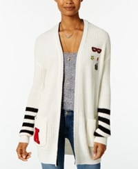Almost Famous Juniors' Patch Boyfriend Cardigan Cream Combo