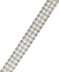 Effy Collection Pearl Lace By Effy Cultured Freshwater Pearl Two Row Tennis Bracelet In Sterling Silver 3 1 2Mm