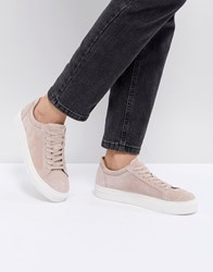 Selected Suede Trainer Pink