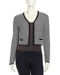 Tart Rouen Lightweight Striped Textured Knit Cardigan Navy White