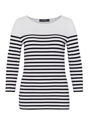 Hallhuber Stripe Top With Three Quarter Sleeves Black