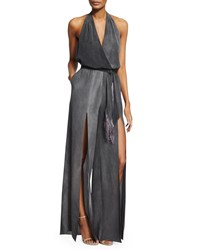 Tamara Mellon Silk Halter Jumpsuit W Fringe Belt Charcoal Grey