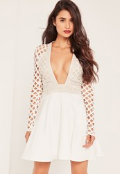 Missguided White Lace Plunge Skater Dress