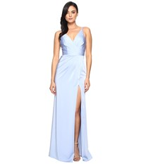 Faviana Satin Faille V Neck Gown W Lightly Rouched Bodice Delicate Draping On Skirt 7755 Periwinkle Women's Dress Blue