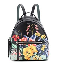 Fendi Mini Printed Leather Backpack Black