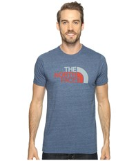 The North Face Short Sleeve Tri Blend Tee Shady Blue Heather Sunbaked Red Multi Men's T Shirt