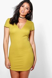 Boohoo Ribbed V Neck Curved Hem Bodycon Dress Olive