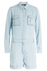 The Kooples Long Sleeved Shorts Jumpsuit Blue