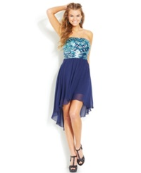 As U Wish Juniors' Sequin High Low Dress Navy Teal