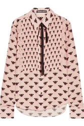 Markus Lupfer Flying Bumble Printed Silk Crepe De Chine Blouse Blush